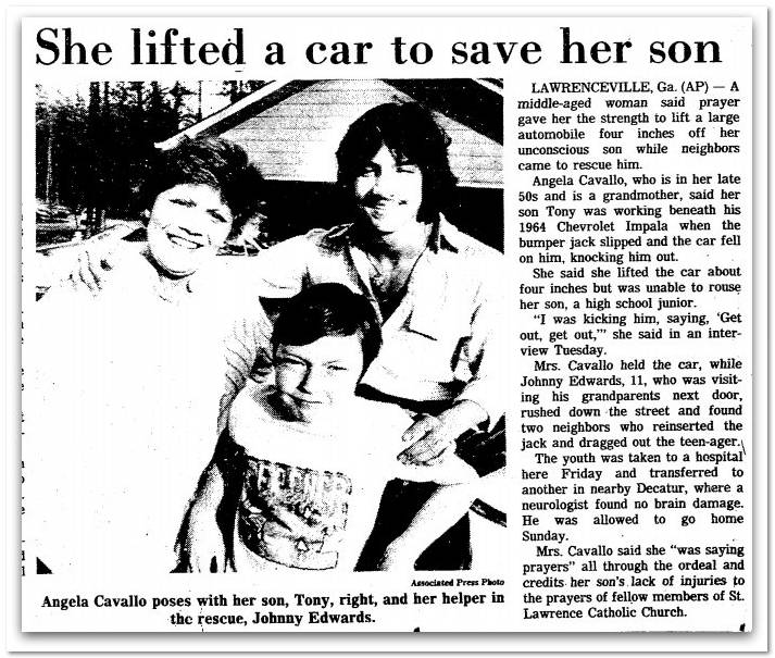 woman lift car to save her son